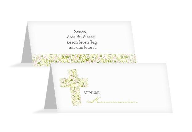 Kommunion Tischkarte Blumenkreuz