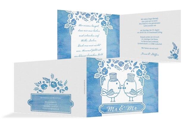 Hochzeit Einladung Vogelpaar- Männer