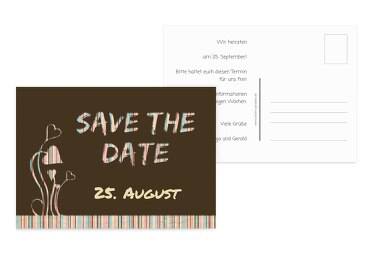 Hochzeit Save-the-Date Wir heiraten braunmatsch 148x105mm