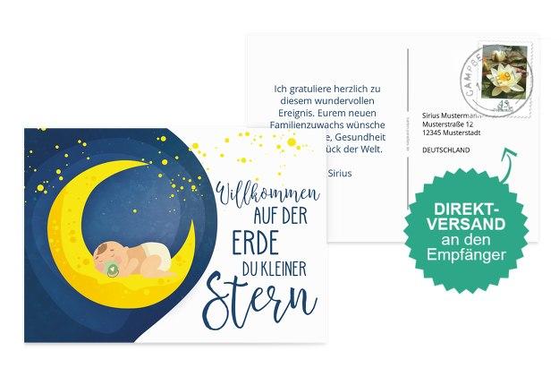 Glückwunschkarte zur Geburt Stern