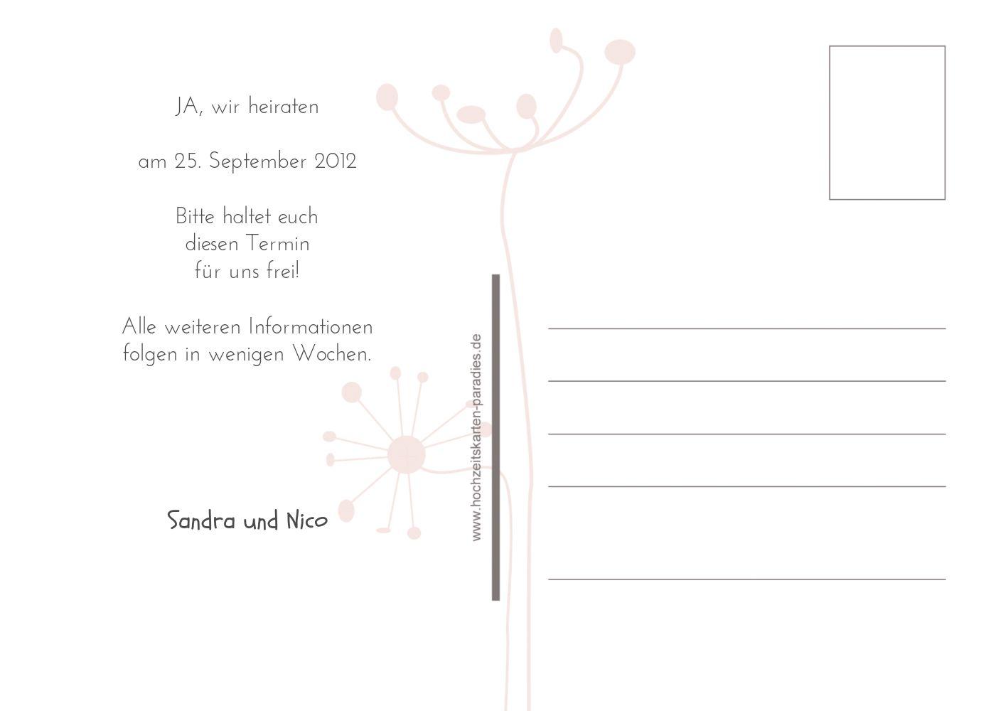 Ansicht 3 - Save-the-Date abstrakte Blumen