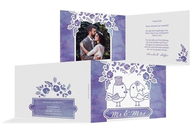Hochzeit Dankeskarte Vogelpaar