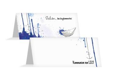 Kommunion Tischkarte Origamischiff