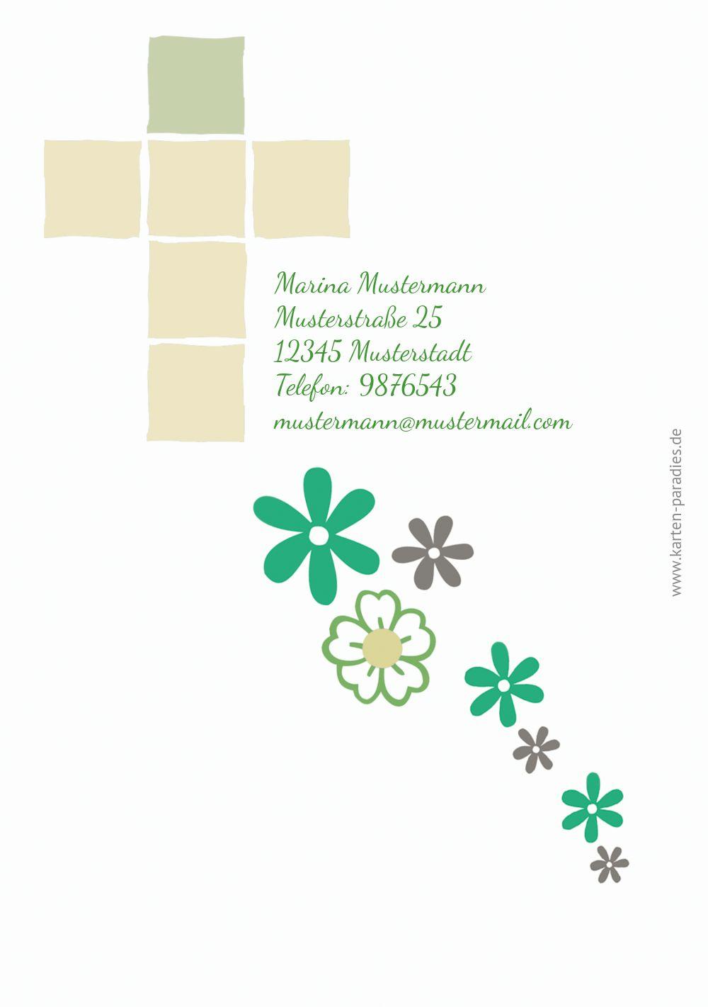 Ansicht 2 - Dankeskarte Florales Kreuz