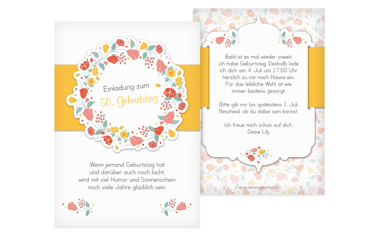 Geburtstagseinladung Blumenkranz 50