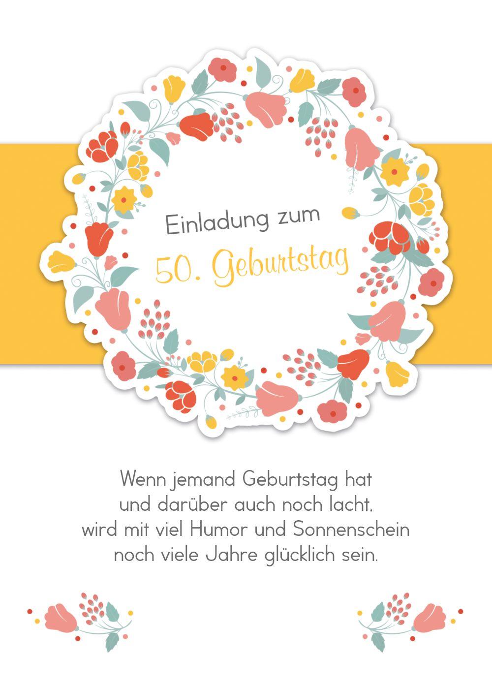 Ansicht 2 - Geburtstagseinladung Blumenkranz 50