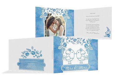 Hochzeit Dankeskarte Vogelpaar - Frauen