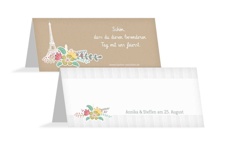 Hochzeit Tischkarte Paris