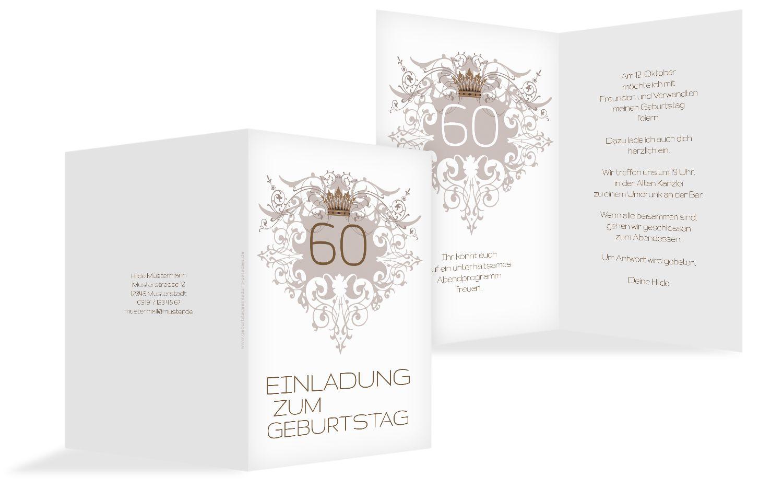 Einladungskarte Krone 60