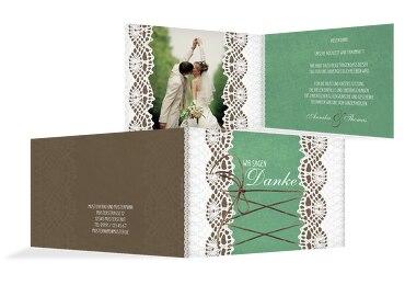Hochzeit Dankeskarte Vintage Schleife
