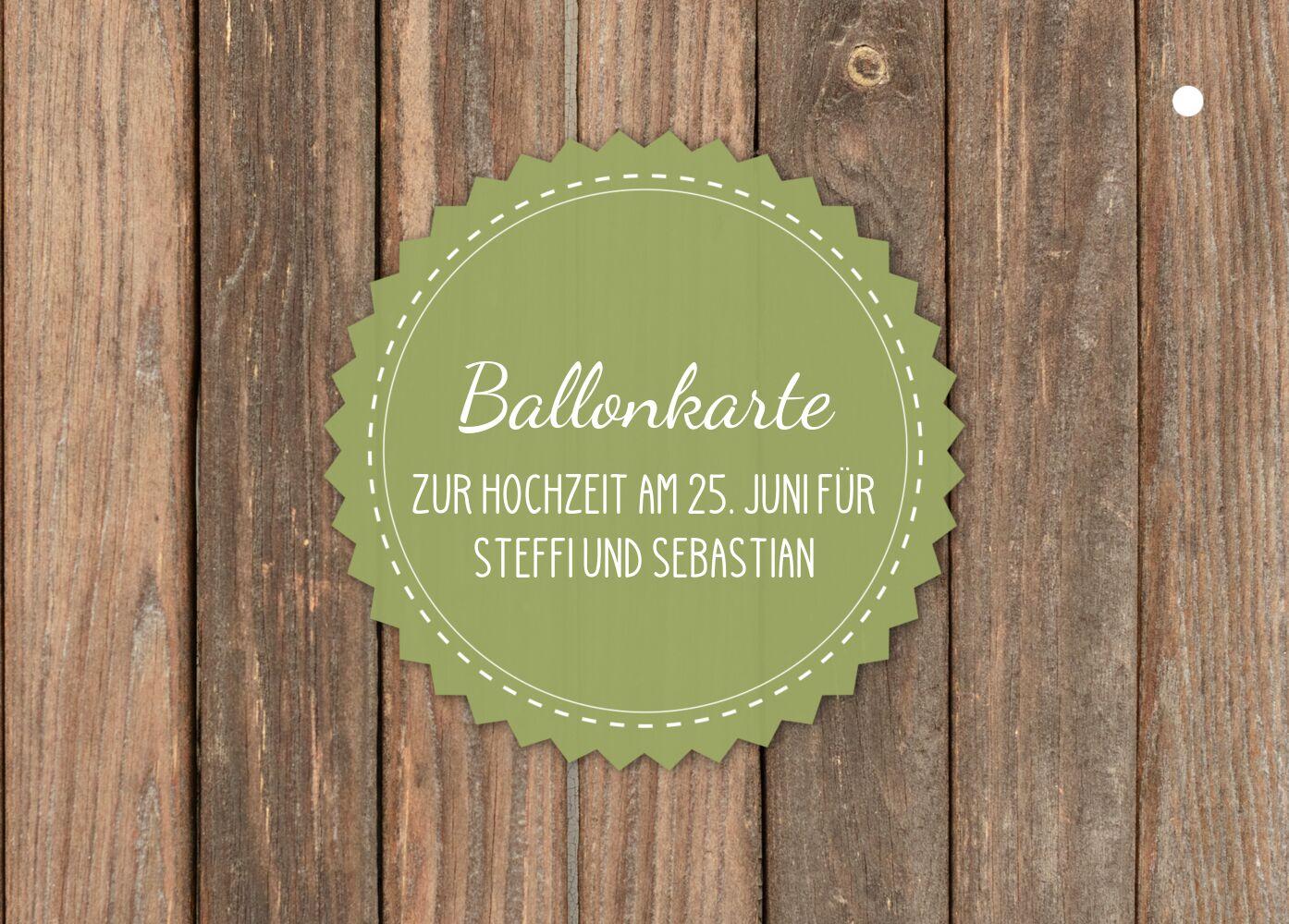 Ansicht 2 - Ballonkarte Vintage Holz