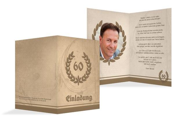 Einladungskarte Lorbeerkranz 60 Foto