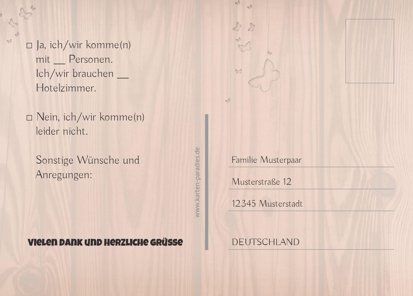 Ansicht 3 - Hochzeit Antwortkarte Steckbrief