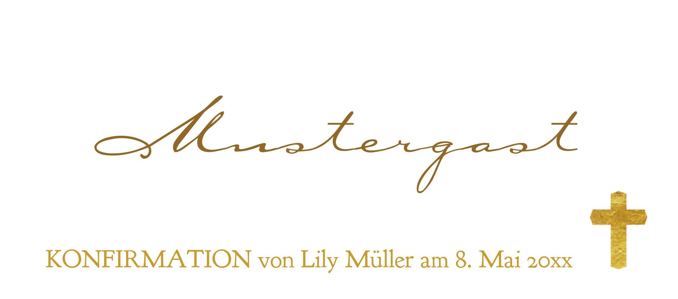Ansicht 3 - Konfirmation Tischkarte Goldrausch