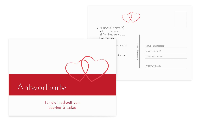 Hochzeit Antwortkarte Herzensband