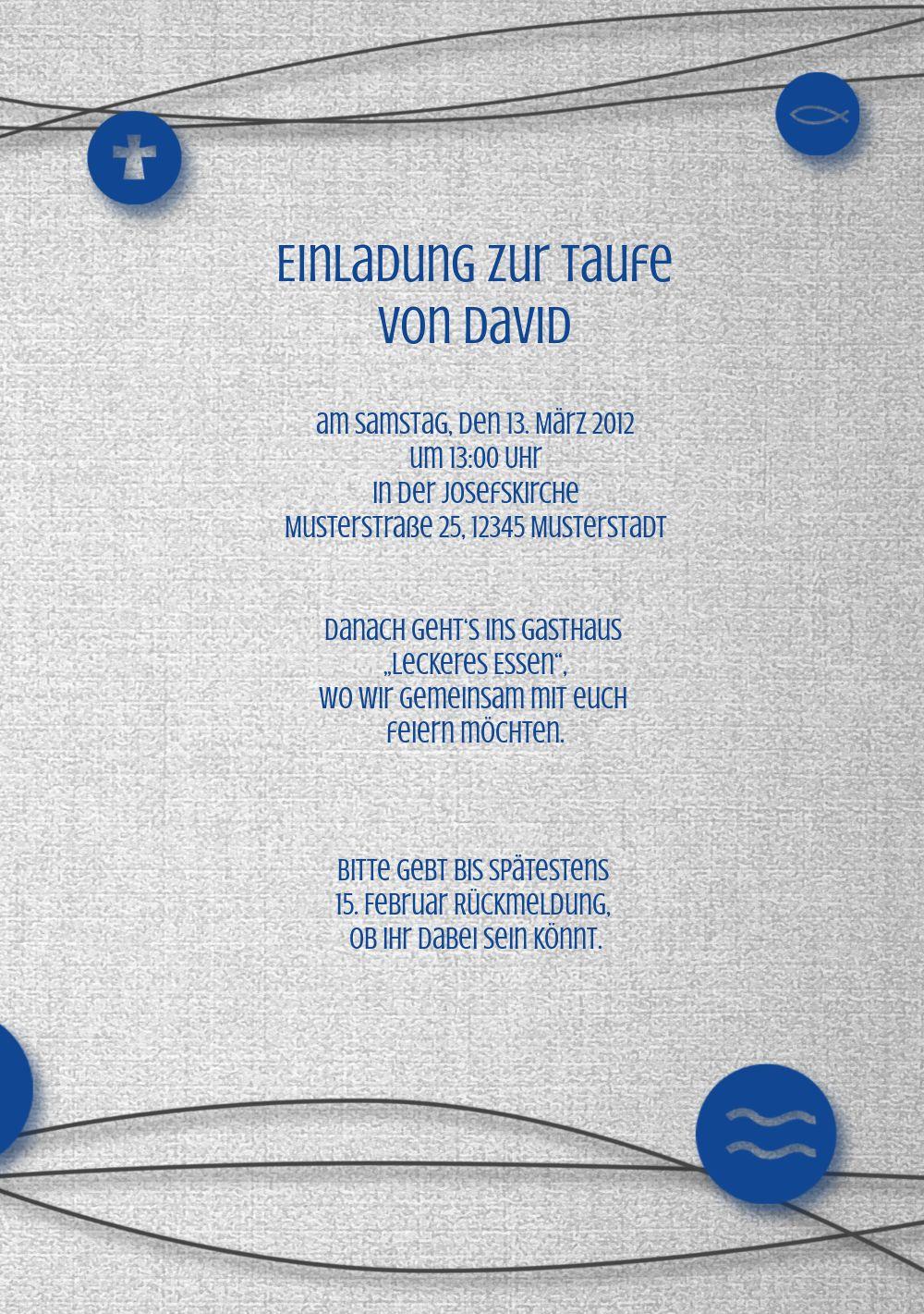 Ansicht 5 - Taufkarte Taufsymbole an Schnüren