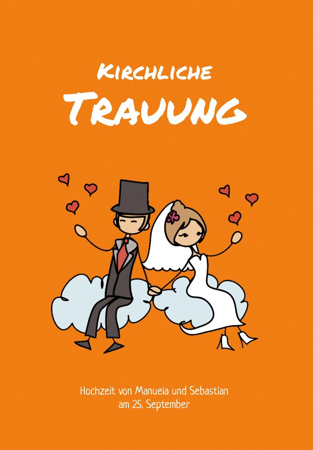 Ansicht 3 - Hochzeit Kirchenheft Umschlag Comic Brautpaar