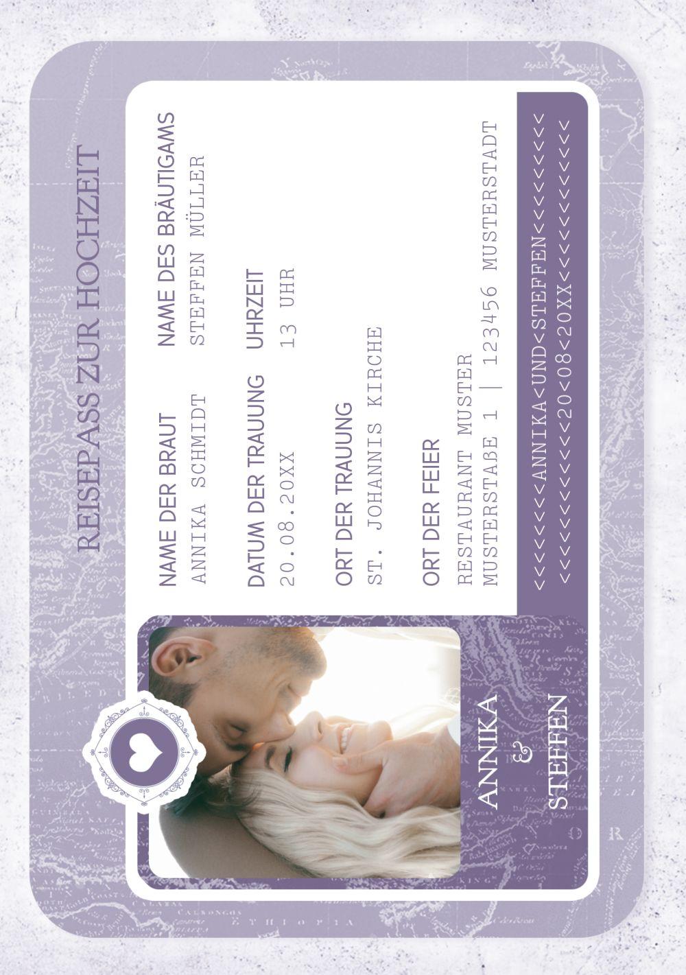 Ansicht 5 - Hochzeit Einladung Hochzeitspass