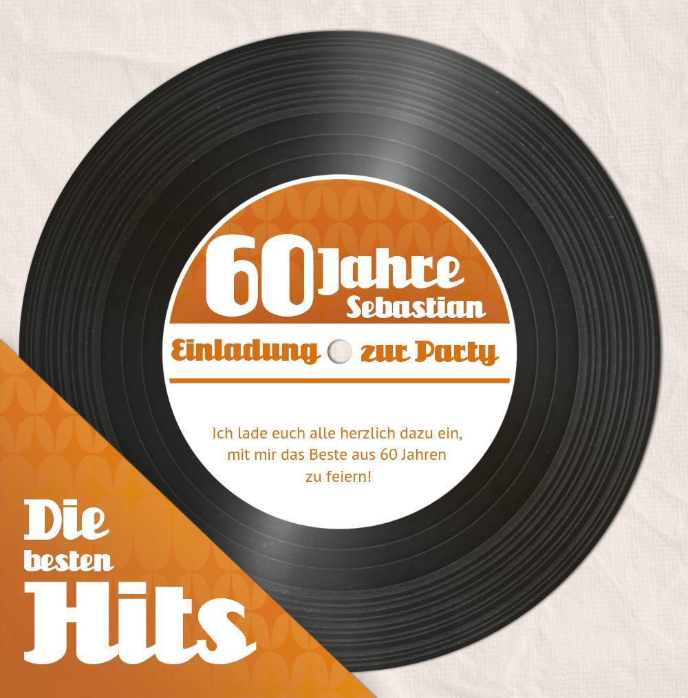 Ansicht 3 - Geburtstagseinladung Schallplatte 60