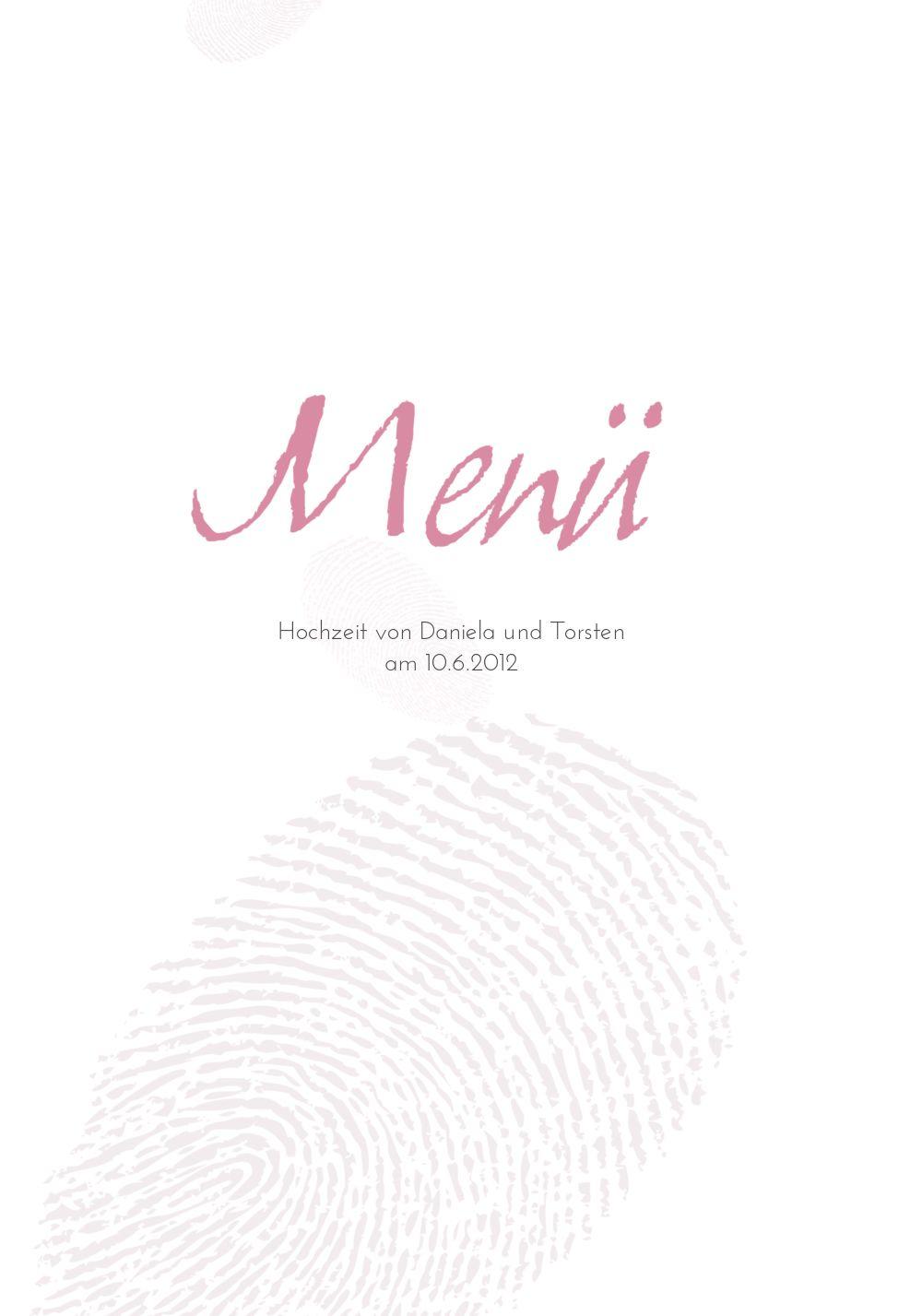 Ansicht 3 - Hochzeit Menükarte fingerprint