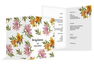 Hochzeit Menükarte Blumendeko