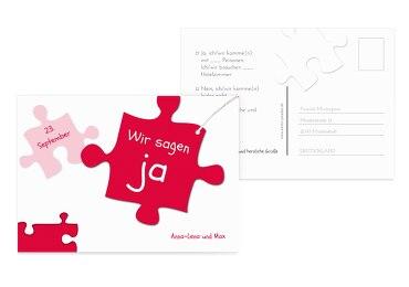 Hochzeit Antwortkarte Puzzleteile