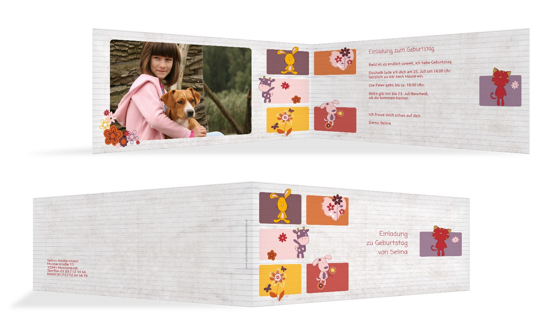 Einladungskarte Tierische Elemente Foto