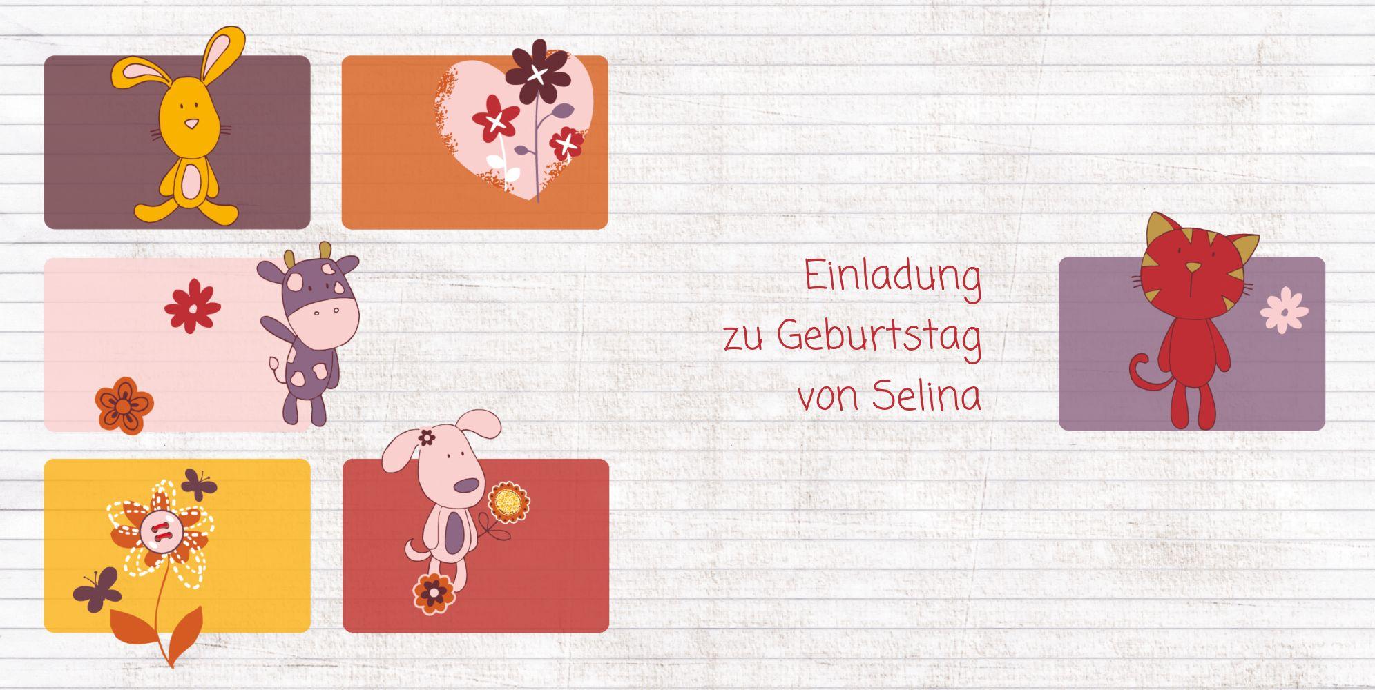 Ansicht 3 - Einladungskarte Tierische Elemente Foto