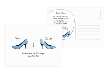 Save-the-Date High Heels HellBlau 148x105mm
