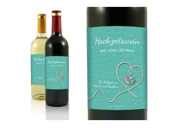 Hochzeit Flaschenetikett erfüllte Liebe