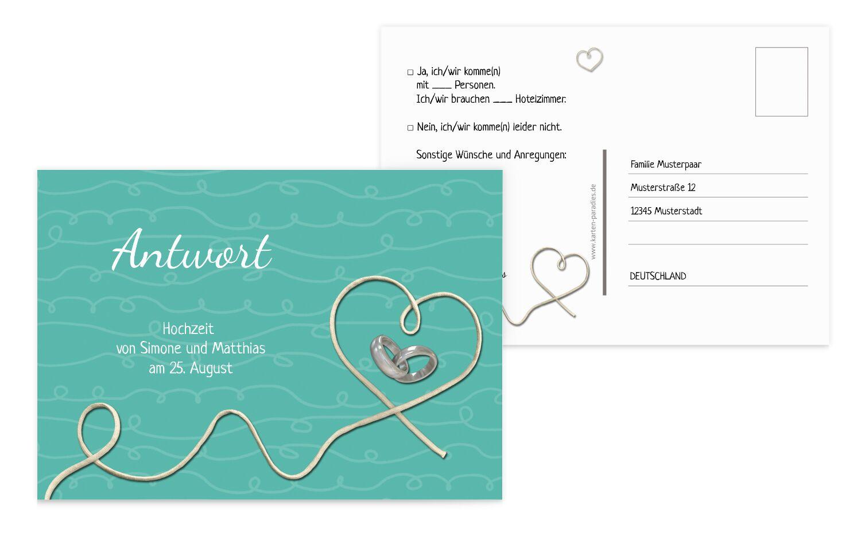 Hochzeit Antwortkarte erfüllte Liebe