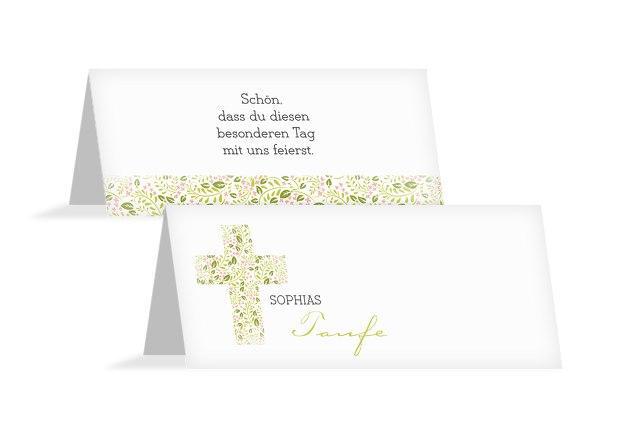 Taufe Tischkarte Blumenkreuz