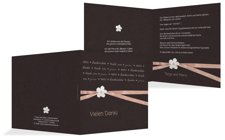 Hochzeit Dankeskarte 2 sanfte Blüte