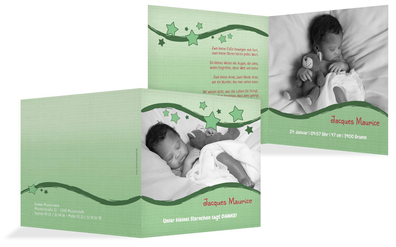 Baby Dankeskarte Sternenwelle