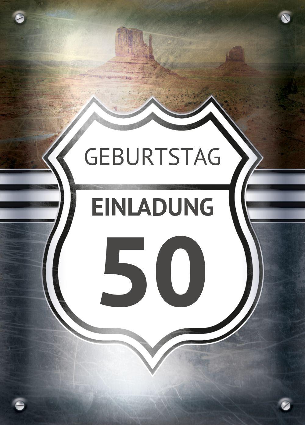 Ansicht 2 - Geburtstagseinladung Route 50