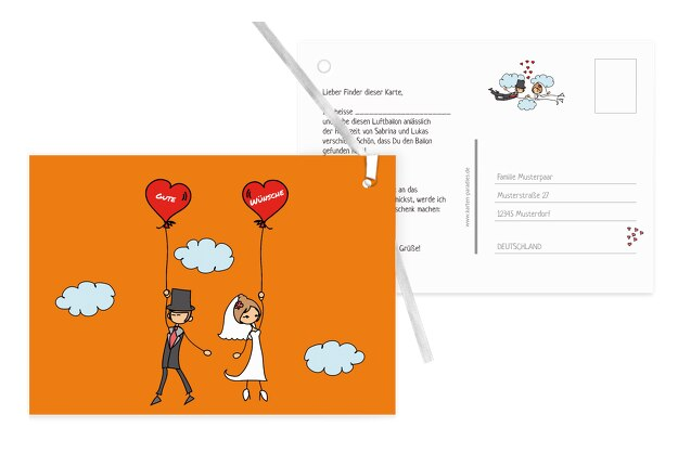 Hochzeit Ballonkarte Comic Brautpaar