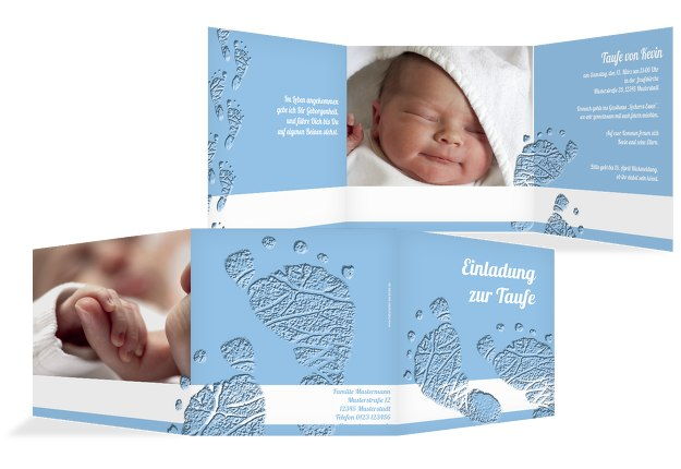 Karte Taufe Einladung.Taufekarte Footprints
