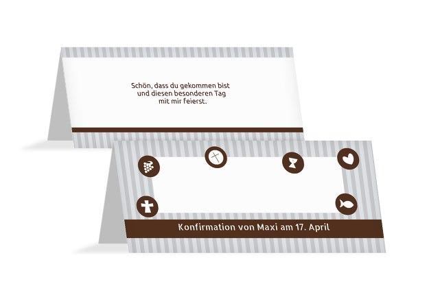 Tischkarte Konfirmation stripes-buttons