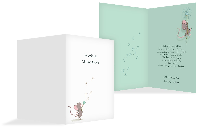 Glückwunschkarte zur Geburt Mäuschen
