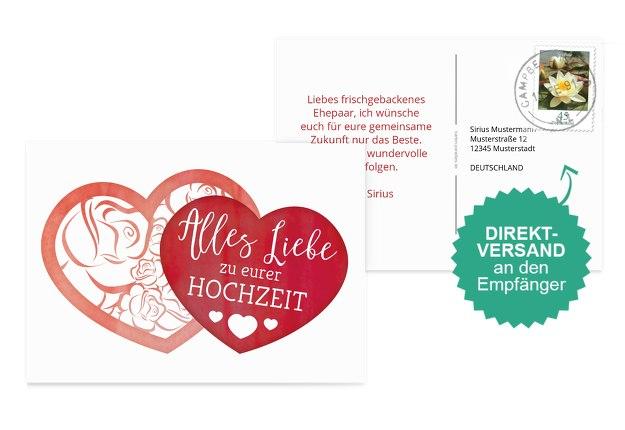 Glückwunschkarte zur Hochzeit Herz