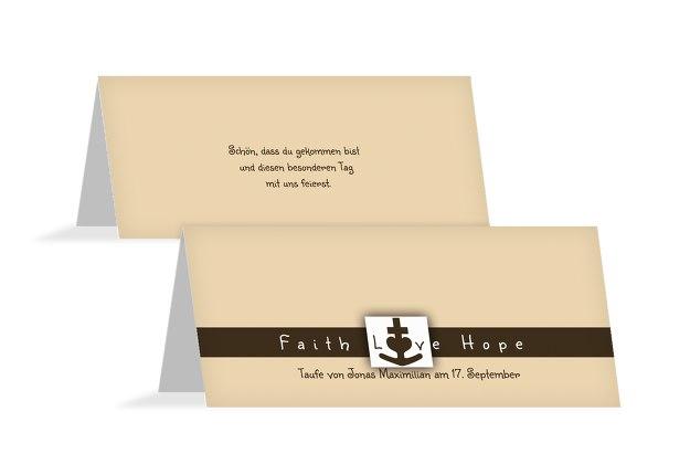 Taufe Tischkarte faith love hope