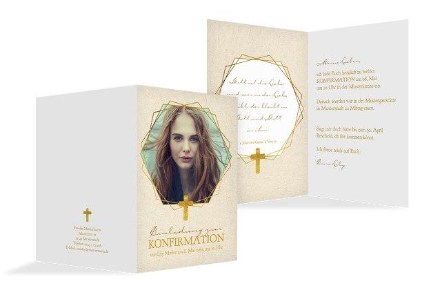 Einladungskarte zur Konfirmation Origamischiff