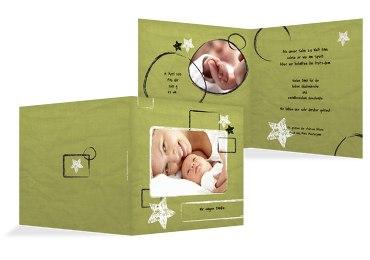 Baby Dankeskarte Kreidepapier