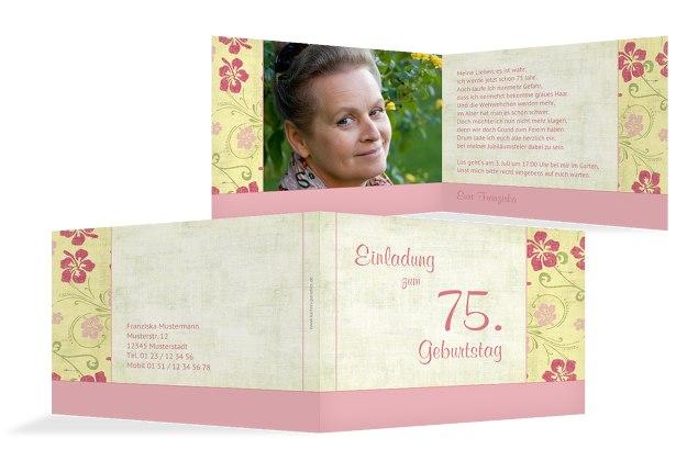 Einladung zum Geburtstag Foto Hibiskus 75