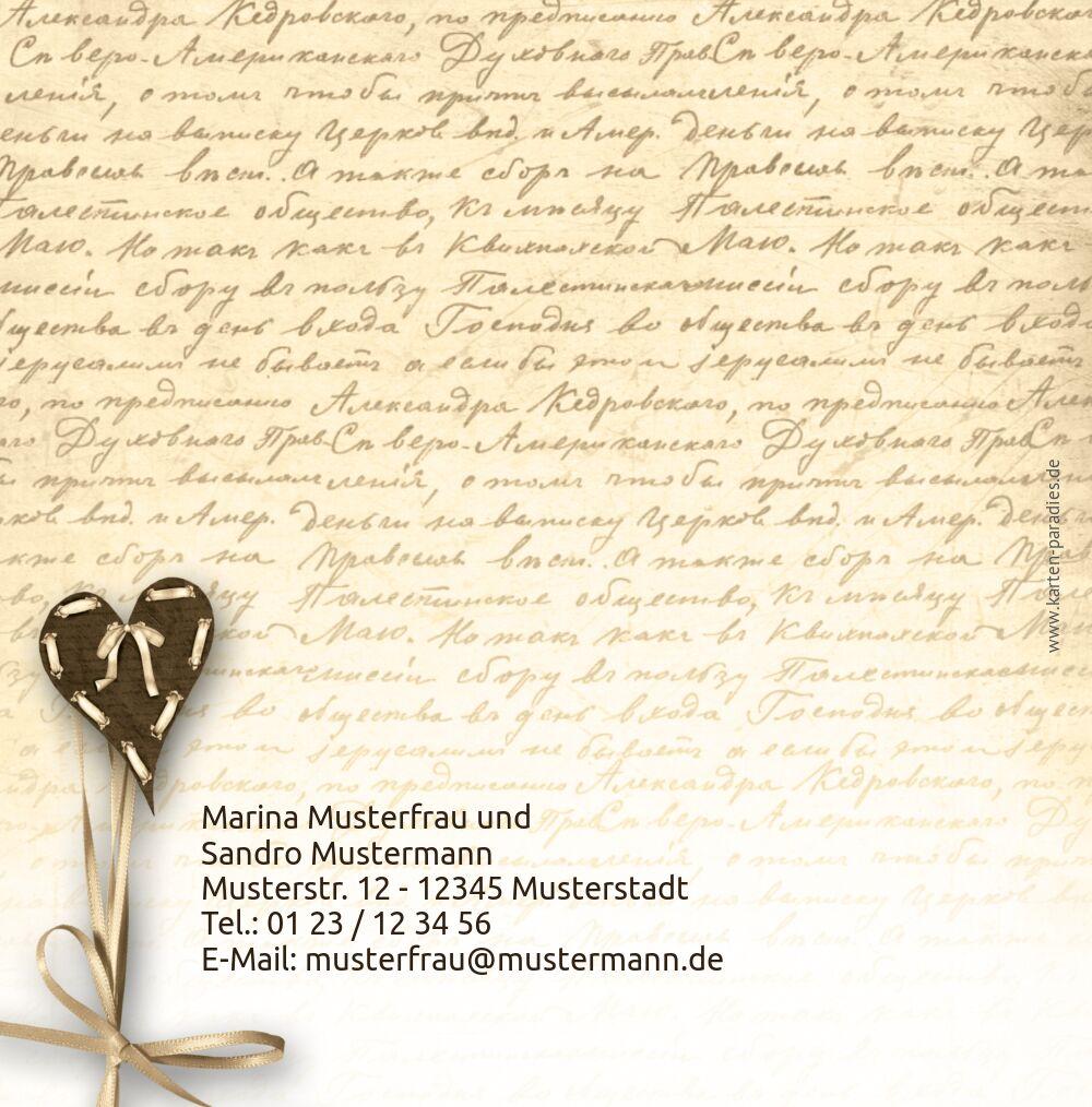 Ansicht 2 - Hochzeit Einladung 2 Herzensgedicht