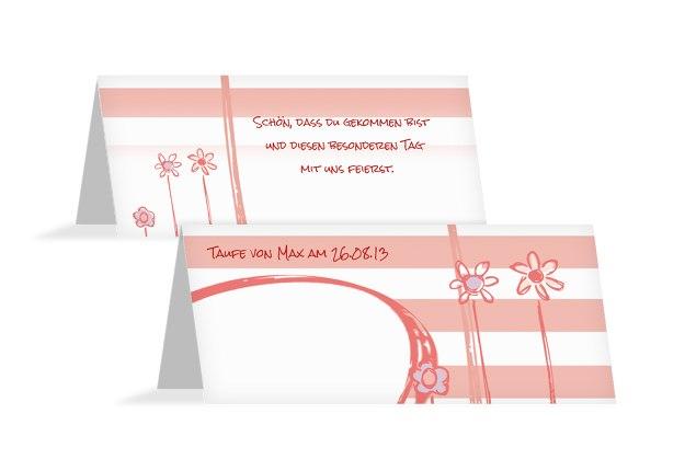 Taufe Tischkarte Flowers and Stripes