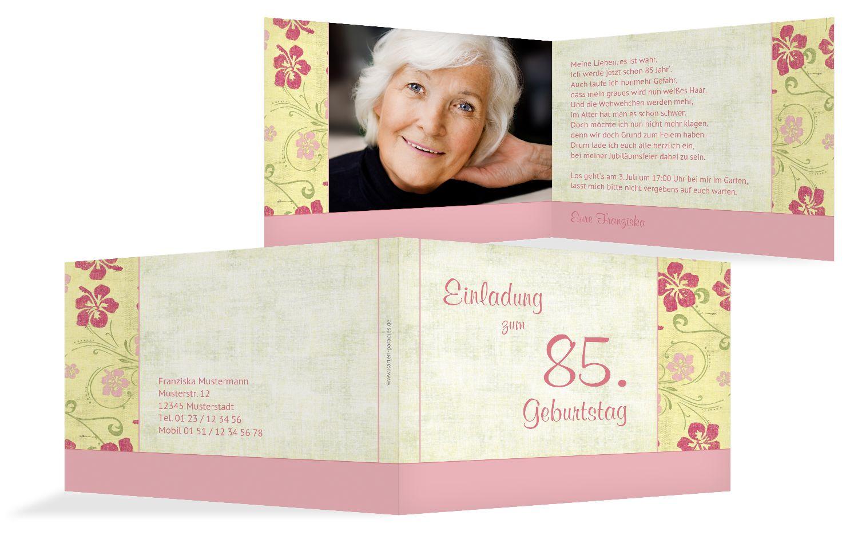 Einladung zum Geburtstag Foto Hibiskus 85