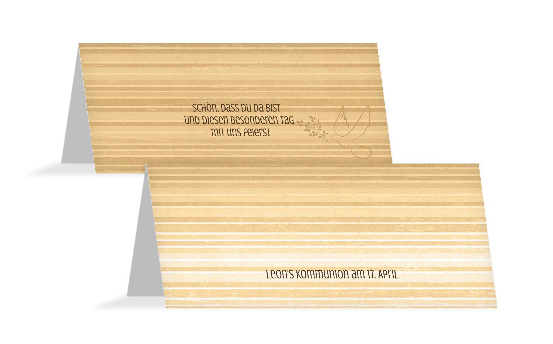 Tischkarte Kommunion Taube 2