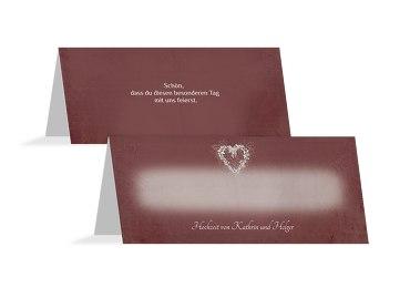 Hochzeit Tischkarte glamour heart