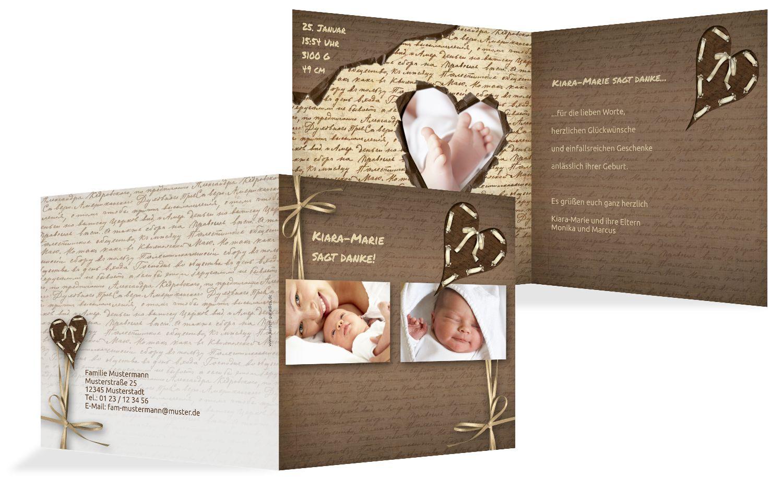 Dankeskarte zur Geburt Gedicht mit Herz